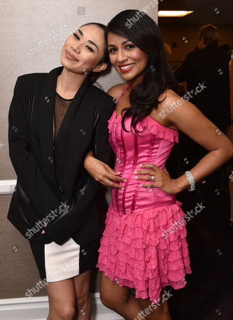 """Jessica Sanchez, left, and Karen David attend the 23rd annual """"A Night at Sardi's"""" to benefit the Alzheimer's Association at the Beverly Hilton Hotel, in Beverly Hills, Calif"""