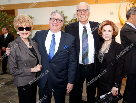 Karen Sharpe, left, Kat Kramer, right, and guests attend the 37th College Television Awards at the Skirball Cultural Center, in Los Angeles