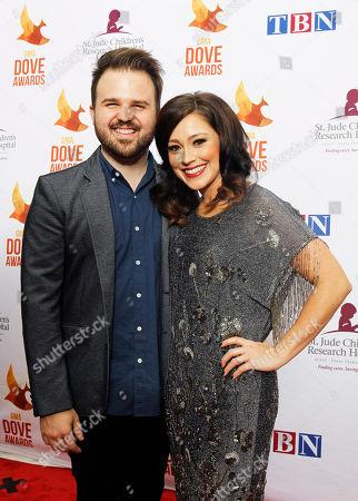 Kari Jobe and her fiancé Cody Carnes arrive at Lipscomb University for the Dove Awards, in Nashville, Tenn