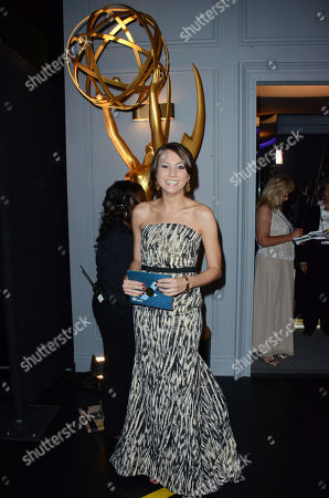 """Exclusive - Tracey Wigfield, winner of the award for outstanding writing for a comedy series for the work on """"30 Rock"""" is seen backstage at the 65th Primetime Emmy Awards at Nokia Theatre, in Los Angeles"""