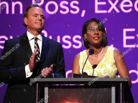 David Goldstein, left, and Pat Harvey present the Emmy for Children Youth Programming at the L.A. Area Emmy Awards presented at the Television Academyâ?™s new Saban Media Center, in the NoHo Arts District in Los Angeles