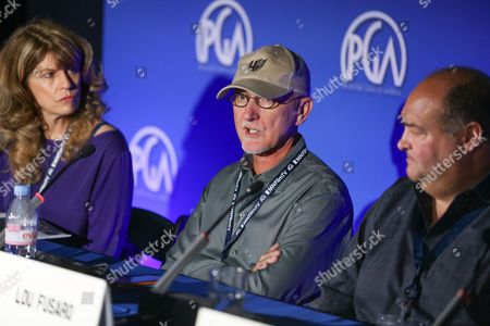Meg James, from left, Ian Bryce and Lou Fusaro speak at the 7th Annual Produced By Conference presented by Producers Guild of America at Paramount Pictures Studios on in Los Angeles