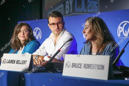 Susanne Daniels, from left, Charlie Ebersol and Lauren Gellert speak at the 7th Annual Produced By Conference presented by Producers Guild of America at Paramount Pictures Studios on in Los Angeles
