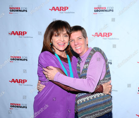 Valerie Harper, left, and Cindy Abbott arrive at the AARP Movies for Grownups Film Showcase at Regal Cinemas L.A. LIVE on in Los Angeles
