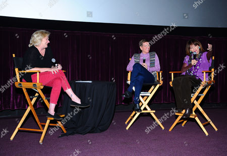 AARP The Magazine's West Coast Editor Meg Grant, and from left, Cindy Abbott and Valerie Harper attend the AARP Movies for Grownups Film Showcase at Regal Cinemas L.A. LIVE on in Los Angeles