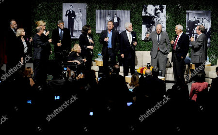"OCTOBER 13: (L-R) Actors Paul Reiser, Eva Marie Saint, Bonnie Hunt, Larry Matthews, George Clooney, Rose Marie, Lily Tomlin, Garry Shandling, Dick Van Dyke, honoree Carl Reiner, writer Bill Persky and moderator Pete Hammond onstage at the Academy of Television Arts & Sciences Presents: ""An Evening Honoring Carl Reiner"" at the Leonard H. Goldenson Theatre on in North Hollywood, California"
