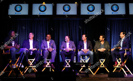 From left, Jimmy Smith, Chairman of Amusement Park Entertainment, Jeff Weber, President of Content and Advertising for AT&T, Alvin Bowles, CEO of Grab Media, John Federman, CEO of Dailybreak, Josh Cohen, President and CEO of Pearl Media, Allen DeBevoise, Chairman and CEO of Machinima and Google's Jonathan M. Perelman participate in a panel at Advertising Week on in New York