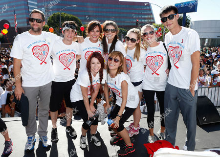 Cast of Awkward (Back L - R) Mike Faiola, Wesam Keesh, Nikki Deloach, Molly Tarlov, Greer Grammer, Barret Swatek, Kelly Sry, (in front l to r) Jillian Rose Reed and Jessica Lu participate in AIDS Walk LA, in Los Angeles