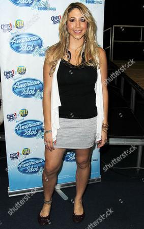 American Idol season 11 contestant Elise Testone arrives at the American Idol Live! Tour press junket on in Los Angeles