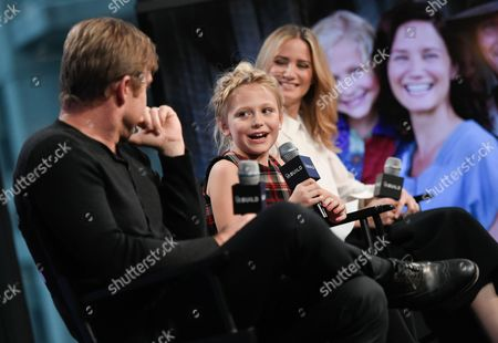"Actors Ricky Schroder, Alyvia Alyn Lind, center, and Jennifer Nettles participate in AOL's BUILD Speaker Series to discuss, ""Dolly Parton's Coat of Many Colors"" television movie, at AOL Studios, in New York"