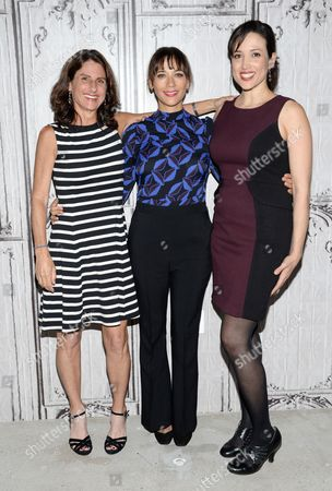 "Directors Jill Bauer, left, and Ronna Gradus pose with producer Rashida Jones, center, at an AOL's BUILD Speaker Series to discuss the film ""Hot Girls Wanted"" at AOL Studios, in New York"