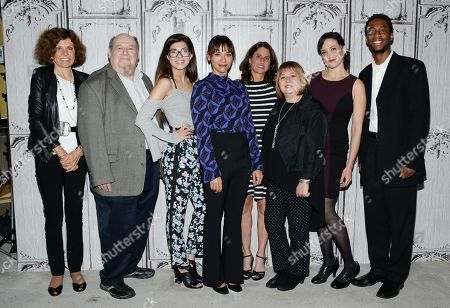 "From left, Nadine Strossen, Mark Kernes, Rachel Bernard, Rashida Jones, Jill Bauer, Gail Dines, Ronna Gradus and Kourtney Mitchell participate in AOL's BUILD Speaker Series to discuss the new film ""Hot Girls Wanted"" at AOL Studios, in New York"