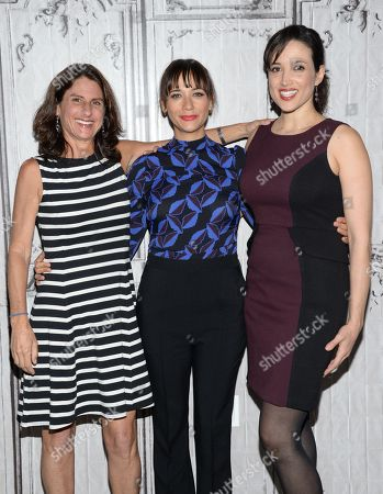 "Directors Jill Bauer, left, and Ronna Gradus pose with producer Rashida Jones, center, at AOL's BUILD Speaker Series to discuss the new film ""Hot Girls Wanted"" at AOL Studios, in New York"