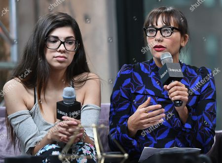 """Stock Photo of Former amateur porn actress Rachel Bernard, left, and producer Rashida Jones participate in AOL's BUILD Speaker Series to discuss the new film """"Hot Girls Wanted"""" at AOL Studios, in New York"""