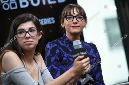"""Former amateur porn actress Rachel Bernard, left, and producer Rashida Jones participate in AOL's BUILD Speaker Series to discuss the new film """"Hot Girls Wanted"""" at AOL Studios, in New York"""