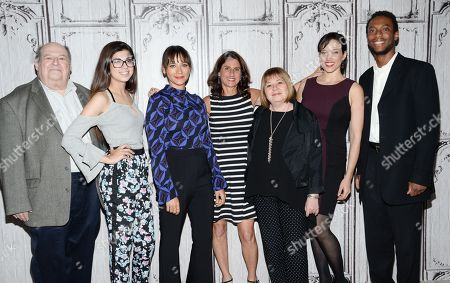 "From left, Mark Kernes, Rachel Bernard, Rashida Jones, Jill Bauer, Gail Dines, Ronna Gradus and Kourtney Mitchell participate in AOL's BUILD Speaker Series to discuss the new film ""Hot Girls Wanted"" at AOL Studios, in New York"
