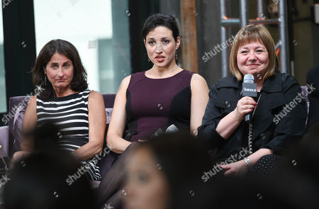 "Directors Jill Bauer, left, Ronna Gradus and anti-pornography activist and author Gail Dines participate in AOL's BUILD Speaker Series to discuss the new film ""Hot Girls Wanted"" at AOL Studios, in New York"