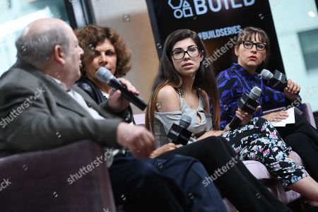 """Senior editor and chief legal analyst for AVN Media Network, Mark Kernes, left, American Civil Liberties Union president Nadine Strossen, former amateur porn actress Rachel Bernard and producer Rashida Jones participate in AOL's BUILD Speaker Series to discuss the film """"Hot Girls Wanted"""" at AOL Studios, in New York"""