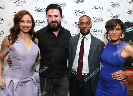 From left, Ashley Judd, president of Kiehl's Chris Salgardo, Anthony Mackie, and Laurie Lynn Stark arrive at Kiehl's Earth Day party hosted by Ashley Judd & Anthony Mackie on in Santa Monica, Calif