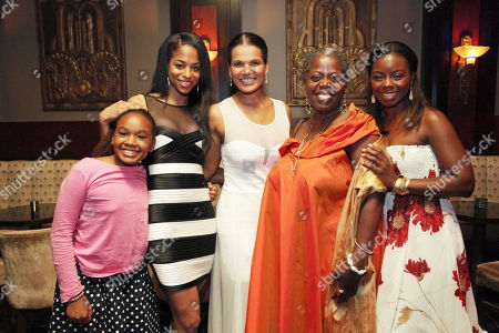 """From left, cast members Skye Barrett, Vivian Nixon, January LaVoy, Lillias White and Erica Tazel pose during the opening night performance of August Wilson's """"Joe Turner's Come and Gone"""" at CTG/Mark Taper Forum, in Los Angeles, Calif"""