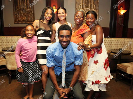 """Clockwise from front, cast members Gabriel Brown, Skye Barrett, Vivian Nixon, January LaVoy, Lillias White and Erica Tazel pose during the party for the opening night performance of August Wilson's """"Joe Turner's Come and Gone"""" at CTG/Mark Taper Forum, in Los Angeles, Calif"""