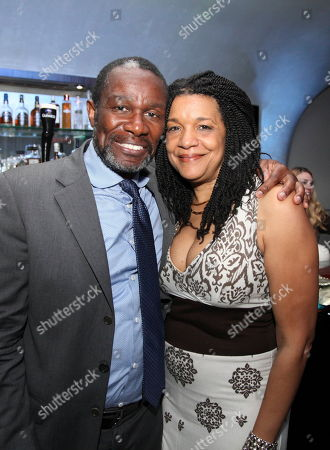 """From left, cast member John Douglas Thompson and Composer Kathryn Bostic pose during the party for the opening night performance of August Wilson's """"Joe Turner's Come and Gone"""" at CTG/Mark Taper Forum, in Los Angeles, Calif"""