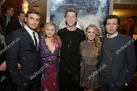 Alex Roe, Chloe Grace Moretz, Collins Key, Maika Monroe and Nick Robinson seen at AwesomenessTV special fan screening of Columbia Pictures 'The 5th Wave' at Pacific Theatres at the Grove, in Los Angeles, CA