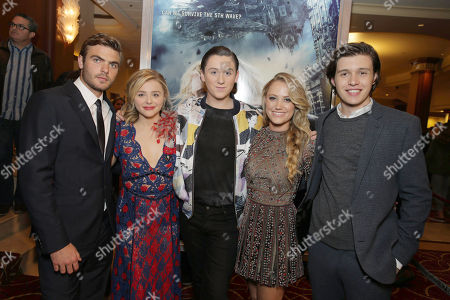 Alex Roe, Chloe Grace Moretz, Trevor Moran, Maika Monroe and Nick Robinson seen at AwesomenessTV special fan screening of Columbia Pictures 'The 5th Wave' at Pacific Theatres at the Grove, in Los Angeles, CA