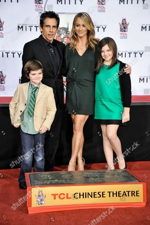 From left, Quinlin Stiller, Ben Stiller, Christine Taylor, and Ella Stiller during the Ben Stiller Hand & Footprint Ceremony at TCL Chinese Theatre on Tuesday, December, 3, 2013 in Los Angeles