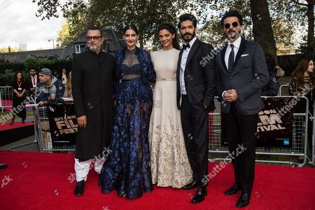 From left, director Rakeysh Omprakash Mehra, actors Sonam Kapoor, Saiyami Kher, Harshvardhan Kapoor and Anil Kapoor pose for photographers upon arrival at the premiere of the film 'Mirzya' at the London Film Festival, in London, . The festival runs from Oct. 5 until Oct. 16