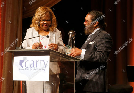 """Stock Image of Orchid Lifetime Achievement Award winner Janie Bradford and Eddie Holland at the CARRY Foundation's 7th Annual """"Shall We Dance"""" Gala at The Beverly Hilton Hotel on in Beverly Hills, California"""