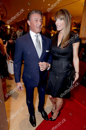 Sylvester Stallone and Jennifer Flavin seen at Cedars-Sinai Board of Governors honoring Adele and Beny Alagem and Sylvester Stallone at 2016 Annual Gala at Beverly Hilton Hotel, in Beverly Hills