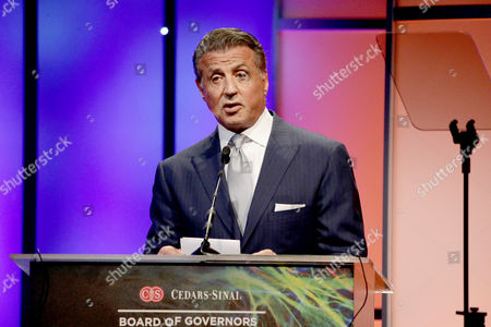 Sylvester Stallone accepts the Heart of Hollywood Award on stage at Cedars-Sinai Board of Governors honoring Adele and Beny Alagem and Sylvester Stallone at 2016 Annual Gala at Beverly Hilton Hotel, in Beverly Hills