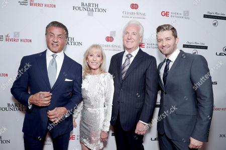 Sylvester Stallone, Leslie Spivak, Cedars-Sinai Chair of Board of Governors, Paul Guerin, Cedars-Sinai Gala Co-Chair, and Matthew Morrison seen at Cedars-Sinai Board of Governors honoring Adele and Beny Alagem and Sylvester Stallone at 2016 Annual Gala at Beverly Hilton Hotel, in Beverly Hills