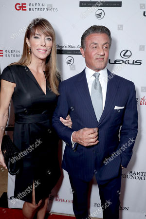 Jennifer Flavin and Sylvester Stallone seen at Cedars-Sinai Board of Governors honoring Adele and Beny Alagem and Sylvester Stallone at 2016 Annual Gala at Beverly Hilton Hotel, in Beverly Hills