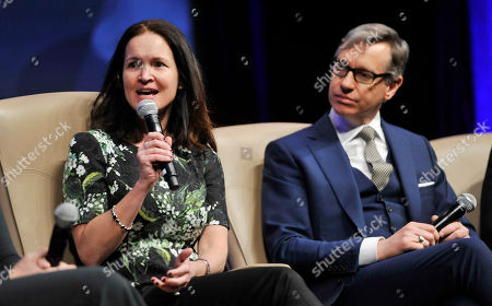 """Regal Entertainment Group CEO Amy Miles, left, and director Pau Feig take part in the """"Driving Financial Success: Women + Movies = Bigger Box Office"""" luncheon at CinemaCon 2013 on in Las Vegas"""
