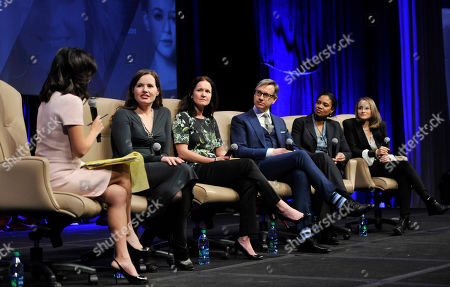 """Left to right, moderator Janice Min, Geena Davis, Amy Miles, Paul Feig, Vanessa Morrison and Nina Jacobson take part in the """"Driving Financial Success: Women + Movies = Bigger Box Office"""" luncheon at CinemaCon 2013 on in Las Vegas"""