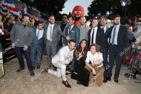 "Stock Image of Danny McBride, David Krumholtz, Seth Rogen, Craig Robinson, Paul Rudd, Writer/Producer Evan Goldberg, Executive Producer/Writer Kyle Hunter, Executive Producer James Weaver, Executive Producer/Writer Ariel Shaffir, Nick Kroll, Salma Hayek and Michael Cera seen at Columbia Pictures and AnnaPurna World Premiere of ""Sausage Party"", in Los Angeles"