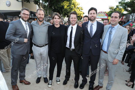 "Stock Picture of Seth Rogen, Writer/Producer Evan Goldberg, Producer Megan Ellison, Executive Producer/Writer Kyle Hunter, Executive Producer/Writer Ariel Shaffir and Executive Producer David Distenfeld seen at Columbia Pictures and AnnaPurna World Premiere of ""Sausage Party"", in Los Angeles"