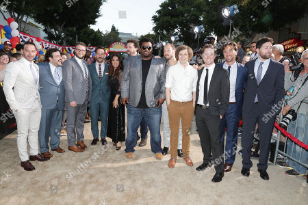 "Nick Kroll, David Krumholtz, Seth Rogen, Paul Rudd, Salma Hayek, Danny McBride, Craig Robinson, Writer/Producer Evan Goldberg, Michael Cera, Executive Producer/Writer Kyle Hunter, Executive Producer James Weaver and Executive Producer/Writer Ariel Shaffir seen at Columbia Pictures and AnnaPurna World Premiere of ""Sausage Party"", in Los Angeles"