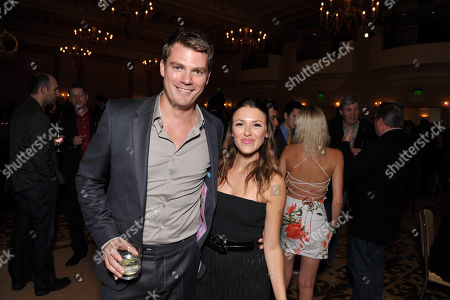 Jeff Branson, left, and Elizabeth Hendrickson attend the Daytime Emmy Nominee Cocktail Reception in Beverly Hills, Calif., on