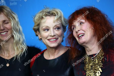From left, actresses Sandrine Kiberlain, Caroline Sihol, and Sabine Azema attend the photo call for the film Life of Riley during the Berlinale International Film Festival, in Berlin