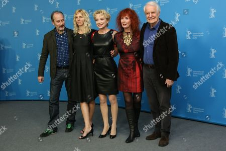 From left, actors Hippolyte Girardot, Sandrine Kiberlain, Caroline Sihol, Sabine Azema and Andre Dussollier attend the photo call for the film Life of Riley during the Berlinale International Film Festival, in Berlin