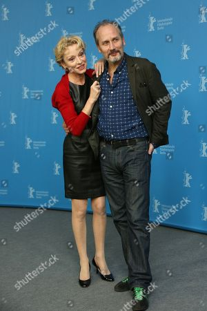 Actors Caroline Sihol and Hippolyte Girardot attend the photo call for the film Life of Riley during the Berlinale International Film Festival, in Berlin