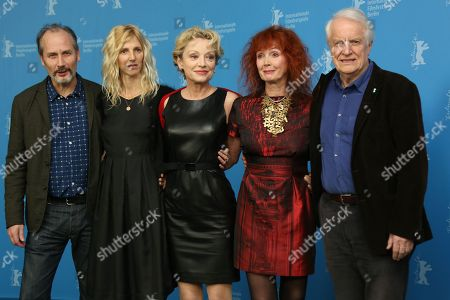 Stock Picture of From left, actors Hippolyte Girardot, Sandrine Kiberlain, Caroline Sihol, Sabine Azema and Andre Dussollier attend the photo call for the film Life of Riley during the Berlinale International Film Festival, in Berlin