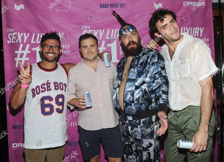Rosé Boys and White Girl Rose founders, Alexander Ferzan, David Oliver Cohen, Fat Jew and Tanner Cohen, left to right, celebrate at the first birthday party for White Girl Rosé hosted by Elite Daily at The Dream Downtown, in New York