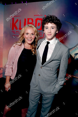 """Stock Image of Movania Parkinson and Art Parkinson seen at Focus Features Los Angeles Premiere of LAIKA """"Kubo and The Two Strings"""", in Universal City, Calif"""