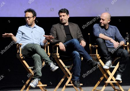 "L-R) Executive producers Jake Kasdan, Brett Baer and Dave Finkel participate in FOX's ""New Girl"" screening and Q&A at the Academy of Television Arts & Sciences' Leonard H. Goldenson Theater on in North Hollywood, California"