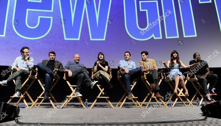 "L-R) Executive producers Jake Kasdan, Brett Baer, Dave Finkel and actors Zooey Deschanel, Jake Johnson, Max Greenfield, Hannah Simone and Lamorne Morris participate in FOX's ""New Girl"" screening and Q&A at the Academy of Television Arts & Sciences' Leonard H. Goldenson Theater on in North Hollywood, California"
