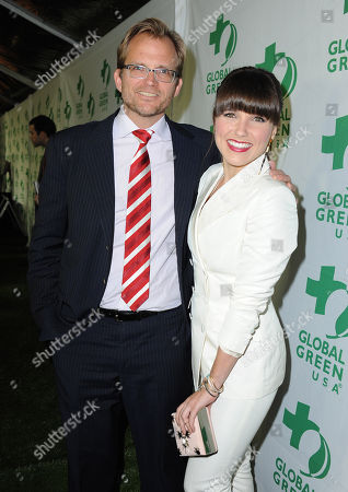 Stock Image of CEO of Global Green USA Matt Petersen and actress Sophia Bush arrive at Global Green USAâ?™s 10th Annual Pre-Oscar Party at the Avalon, on in Los Angeles